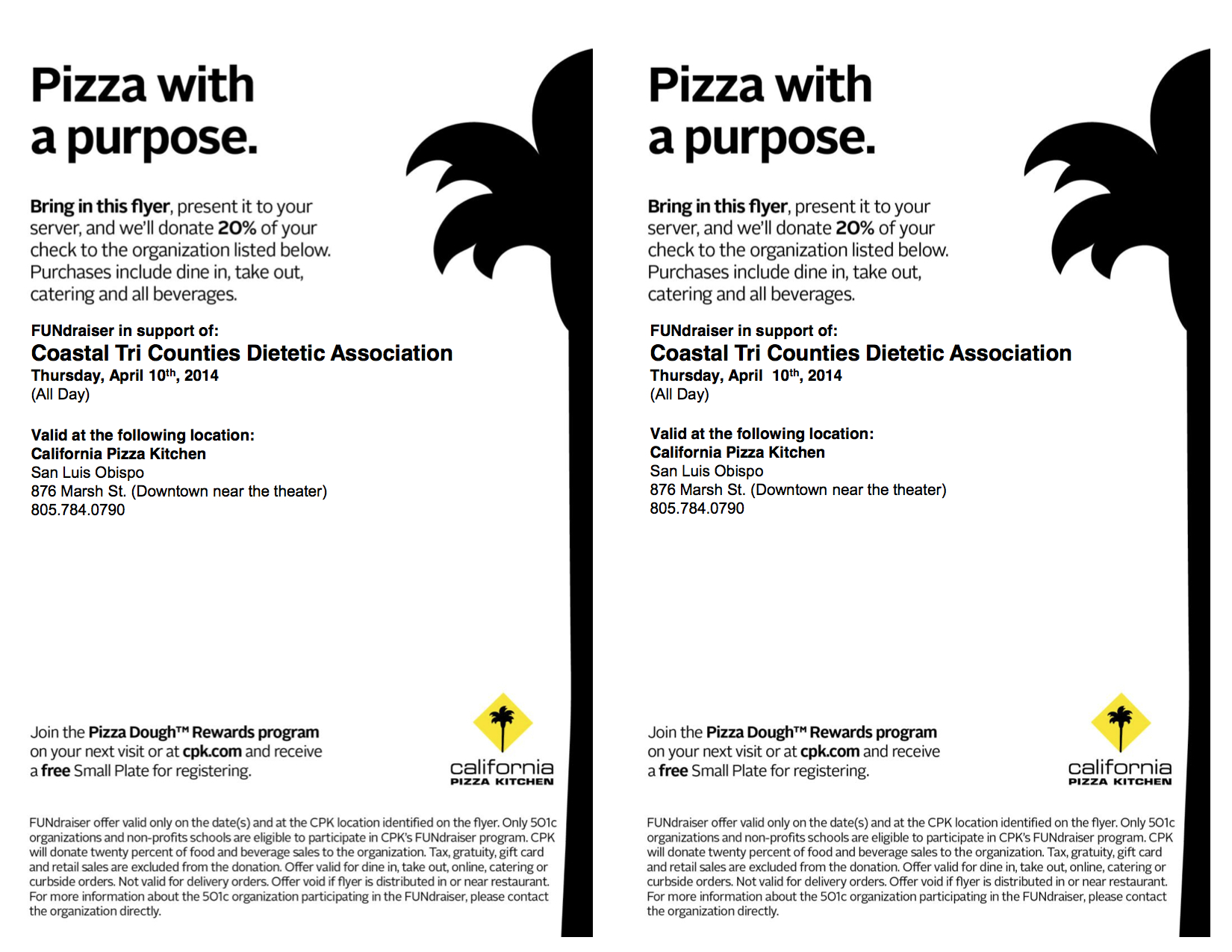 California Pizza Kitchen Fundraiser Night