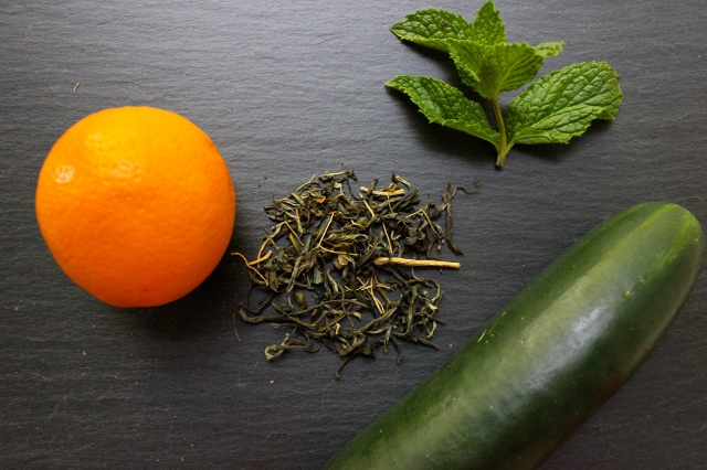 orange cucumber mint green tea